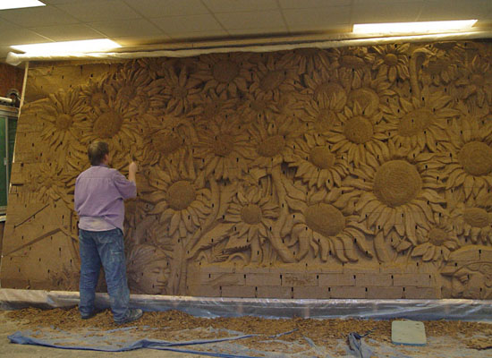 Image gallery brick carving for Crossing the shallows tile mural